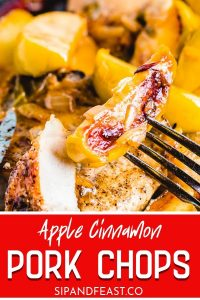 Pan seared pork chops and apples recipe Pinterest image.