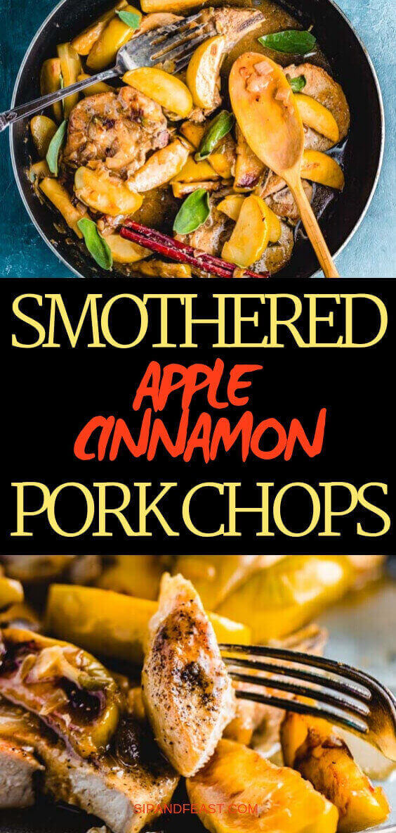 Pan seared pork chops with apples and cinnamon Pinterest image.
