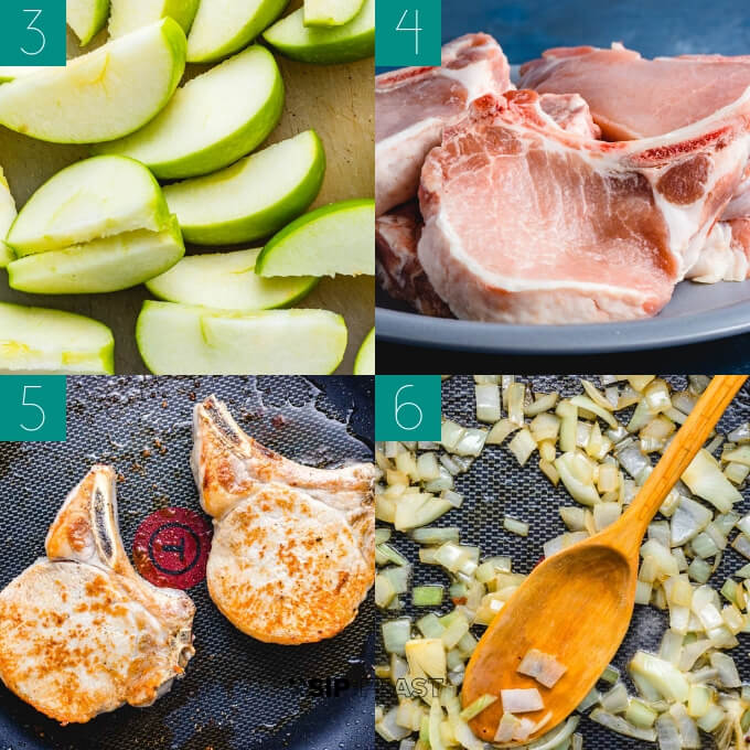 Pan seared pork chops with apples and cinnamon collage of chopped apples, raw pork chops, seared pork chops, and sauteed onions.