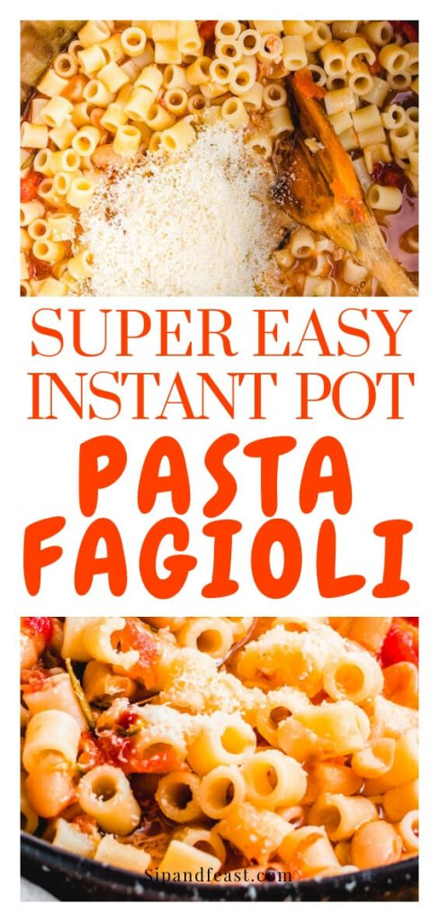 Past and beans - Instant Pot pasta fagioli Pinterest image.