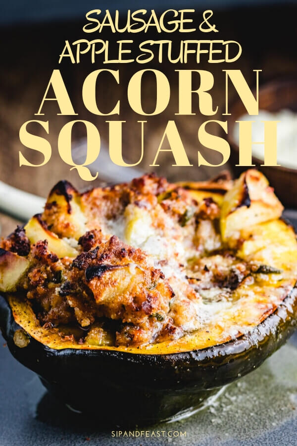 Sausage and apple stuffed acorn squash Pinterest image.