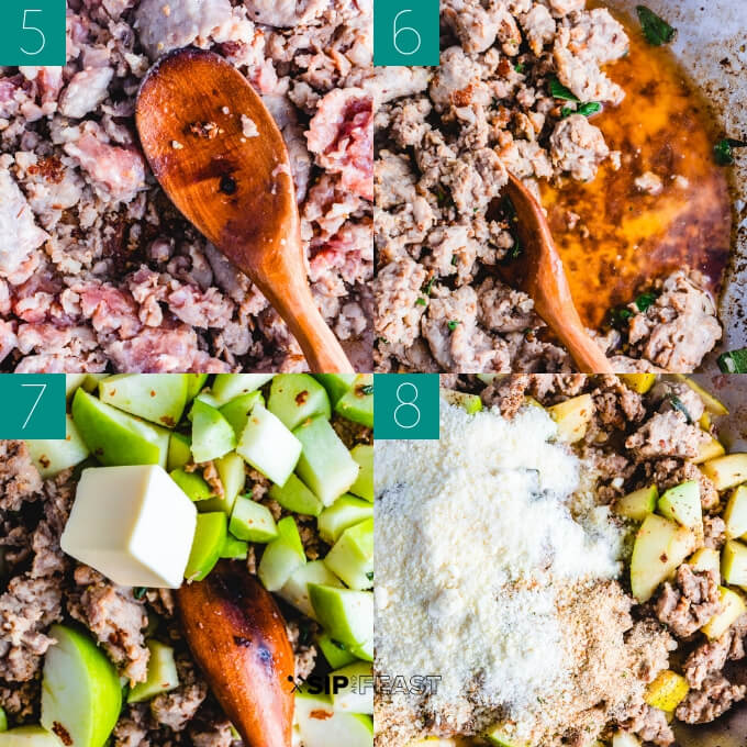 Sausage and apple stuffed acorn squash collage of the stuffing be made.
