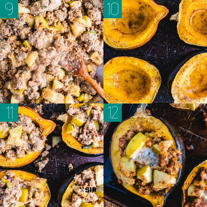 Sausage and apple stuffed acorn squash collage of the stuffing being placed into the squash and baked in the oven.