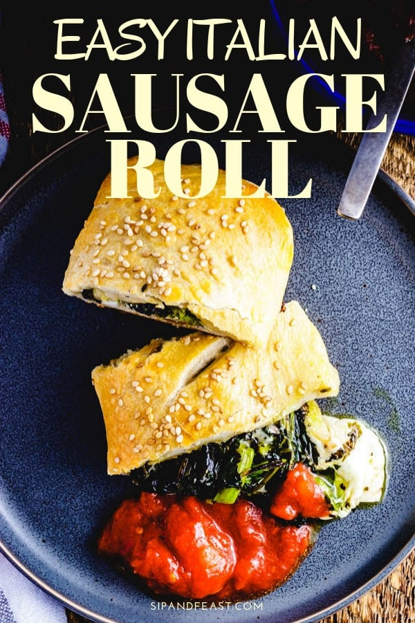 Easy New York style Broccoli Rabe Sausage Roll with fresh mozzarella.  Great recipe for a weeknight meal. #comfortfoodrecipe #italianrecipe #pizzarecipe #pizzaroll #sausagerecipe #sausageroll