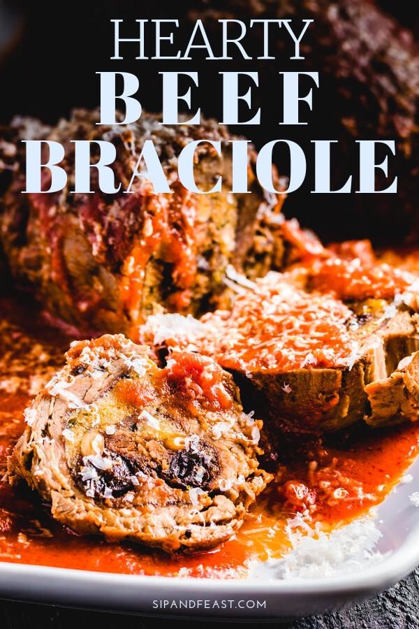 Italian beef braciole with pine nuts, parmigiano reggiano, parsley, garlic, raisins, and breadcrumbs.  One of the best Italian comfort food recipes.  #Italianrecipe #comfortfoodrecipe #Sundaysauce #Italianbeefrecipe #beefrecipe #Sicilianfood