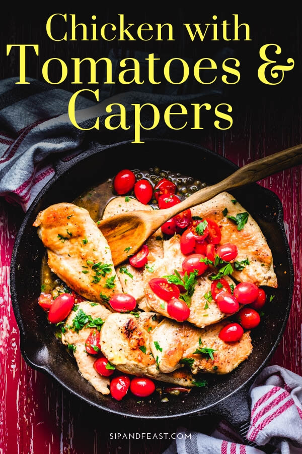 Italian chicken with tomatoes and capers Pinterest image.