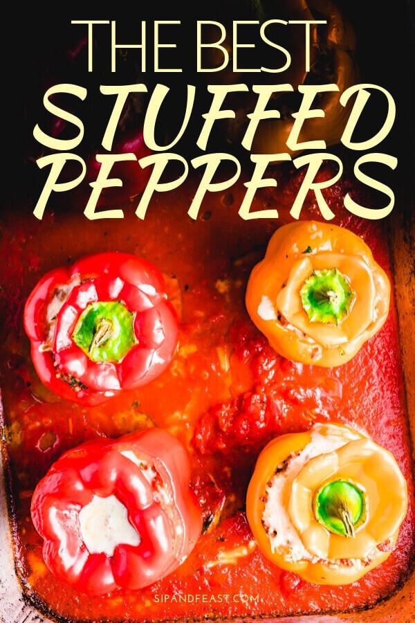 Stuffed Italian peppers Pinterest image.