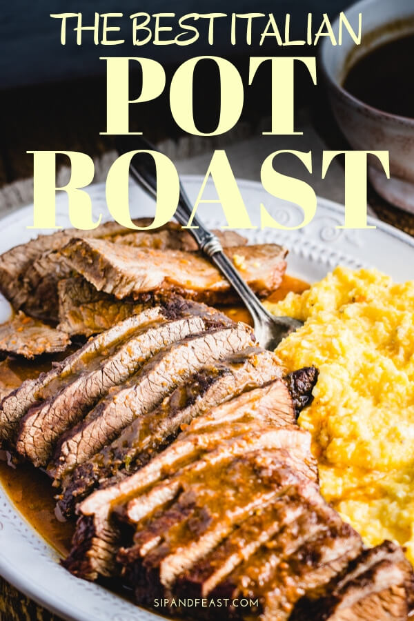 Italian style pot roast recipe.  A brisket is braised in a Dutch oven with red wine, sage, and spices.  Makes the perfect Sunday comfort food dinner. #dutchoven #braisedbeef #brisket #beefdinner #sundaydinner #redwinesauce #brasato #potroast