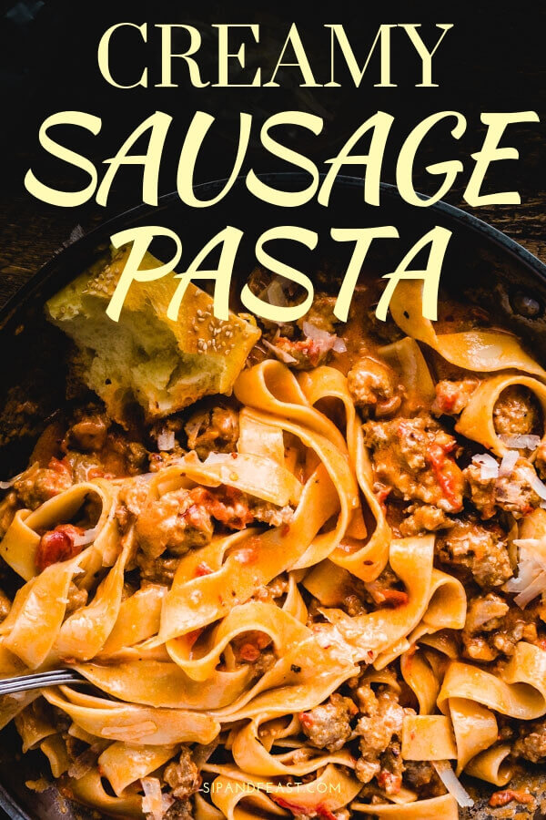Italian sausage pasta is an awesome comfort food recipe for anytime the pasta craving hits.  Any thick and hearty pasta can be used to make this hearty sausage recipe. #Italianrecipe #sausagerecipe #comfortfood #pastarecipe #pappardelle #creamsauce #creamypasta