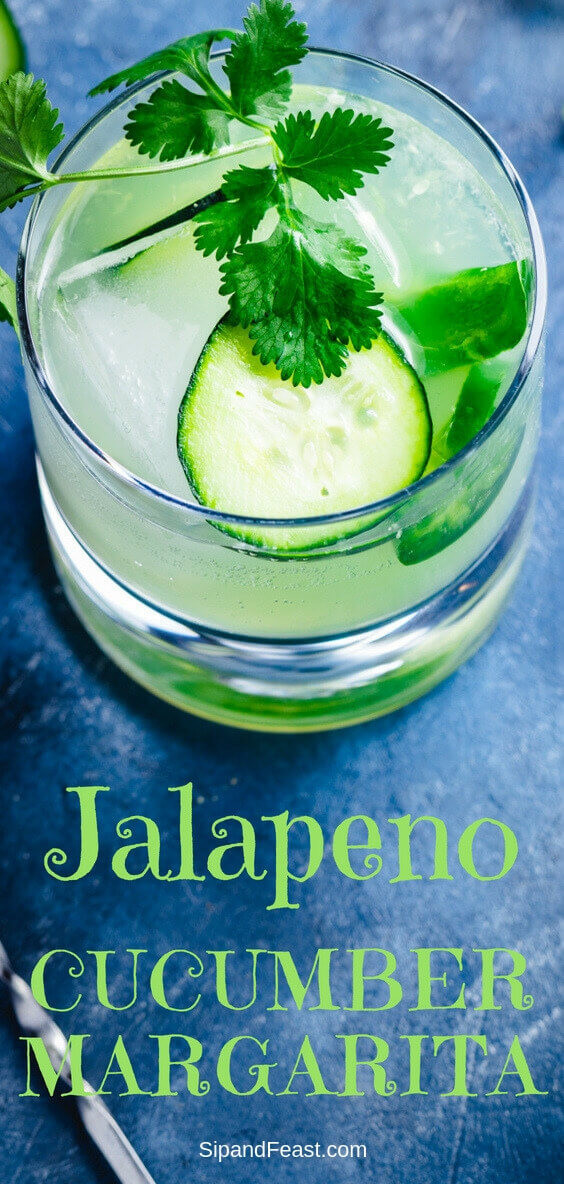 Jalapeno margarita with cucumber? If you haven't been adding this spicy and delicious twist on the classic margarita, you're missing out.  Great drink recipe idea for the holidays or any day! #margaritarecipe #spicydrink #cucumberdrink #jalapeno #cocktailrecipes #drinkrecipes #mixology
