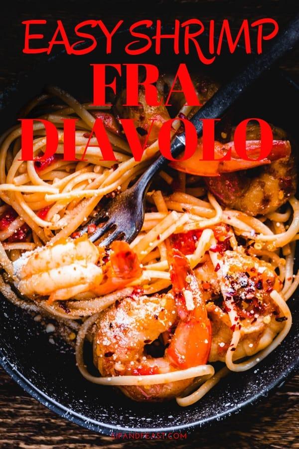 Shrimp fra diavolo Pinterest Image.