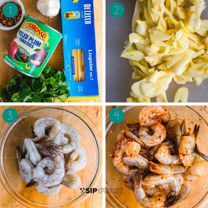 Shrimp fra Diavolo process shot collage group number one.