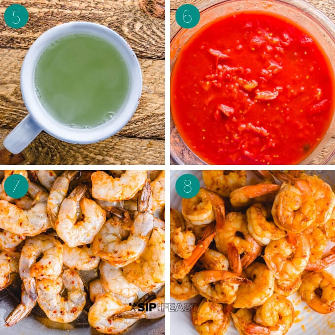 Shrimp fra diavolo step by step process collage.