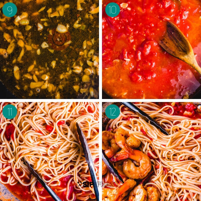 Shrimp fra diavolo process shot collage.