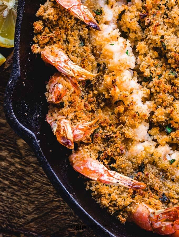 Closeup of shrimp oreganata.