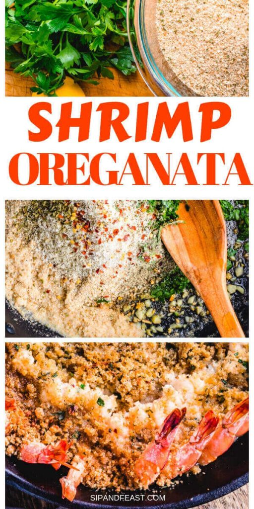Shrimp oreganata recipe Pinterest image.