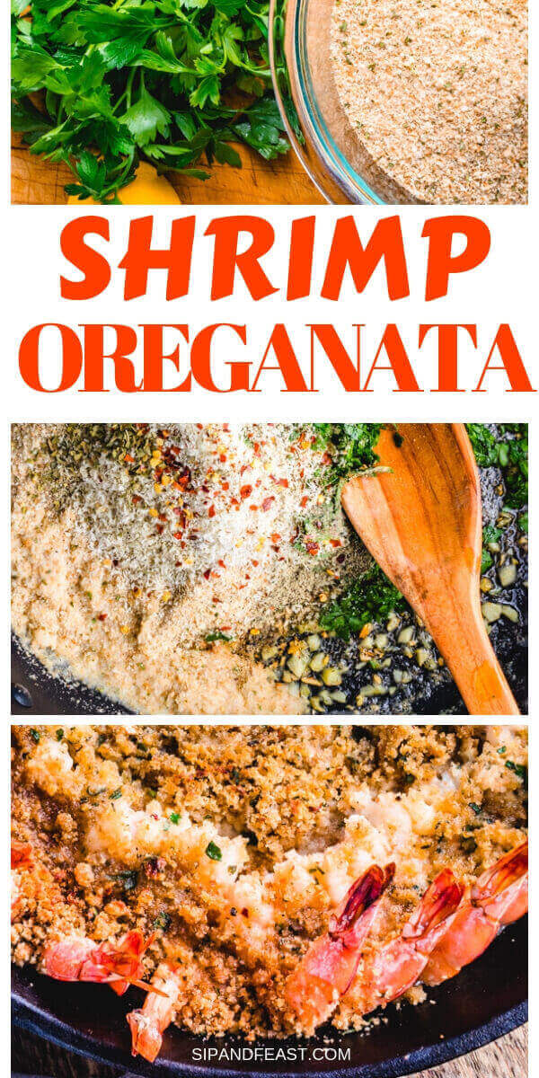 Shrimp oreganata recipe Pinterest image.