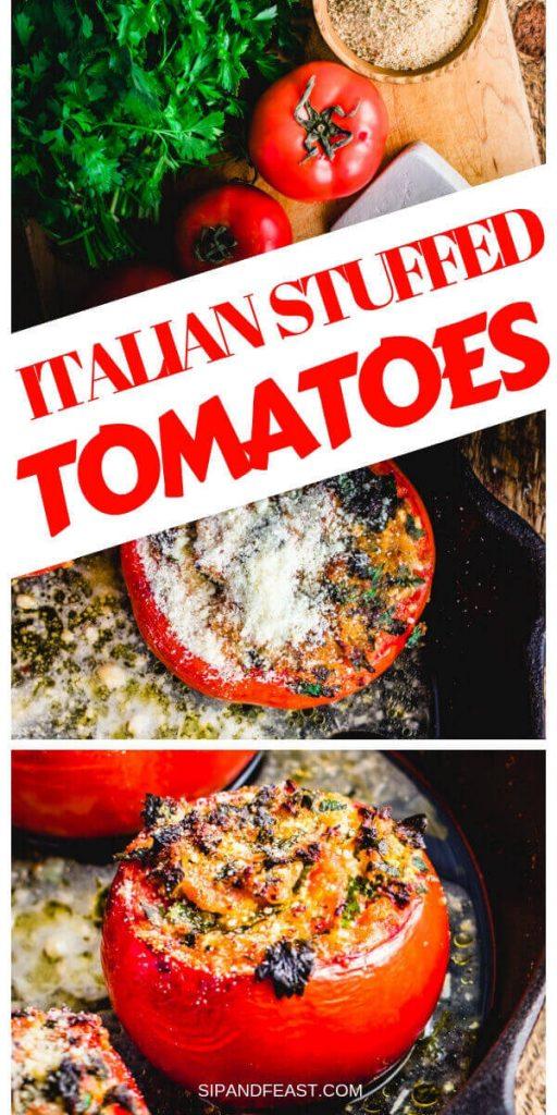 Stuffed tomatoes with ricotta salata Pinterest image.