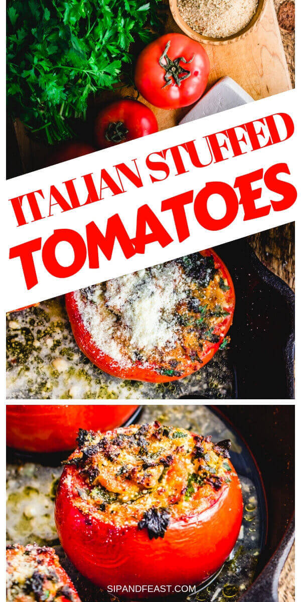 These parsley and cheese stuffed tomatoes make a perfect side dish or appetizer.  Huge flavor and only a few ingredients in this easy Italian recipe. #sidedish #stuffedtomatoes #italianrecipe #appetizerrecipe #tomatoes #sidedishrecipes