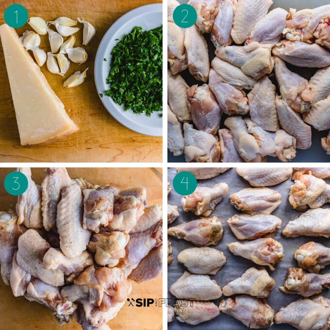 Garlic parmesan wings process shot collage group one.