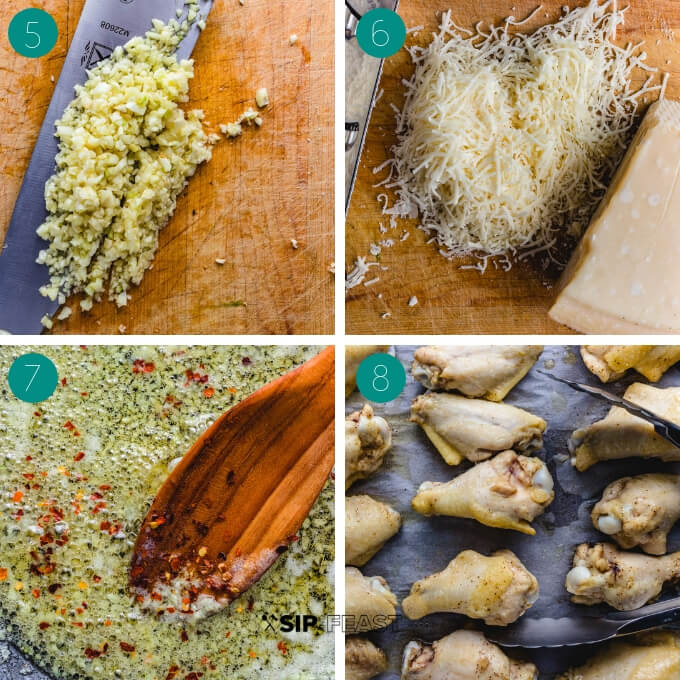Garlic parmesan wings process shot collage group number two.
