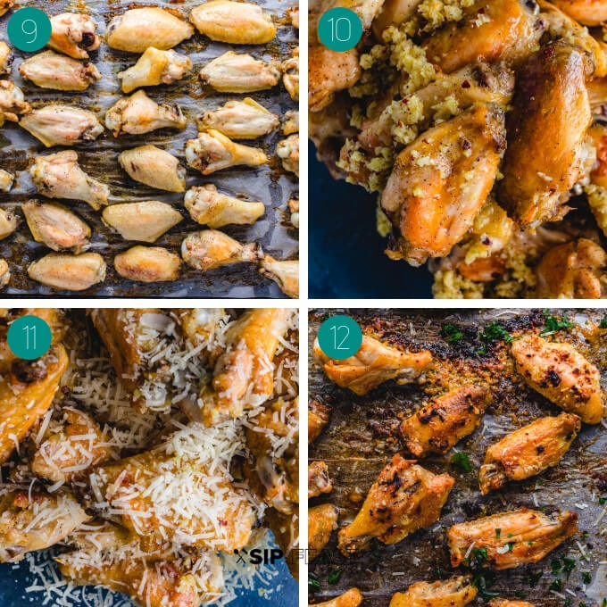 Garlic parmesan wings process shot collage group number three.