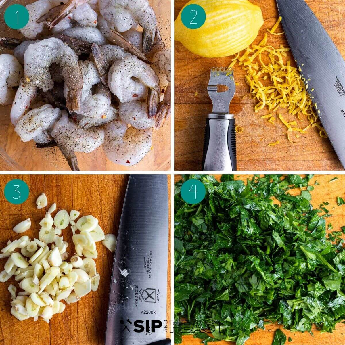 Lemon garlic shrimp pasta process shot collage group number one.