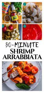 Shrimp arrabbiata recipe Pinterest image.