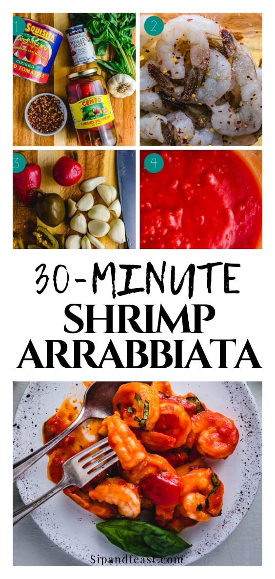 Spicy Shrimp Arrabbiata with a delicious tomato sauce made from San Marzano plum tomatoes, chili flakes, cherry peppers, garlic, basil and extra virgin olive oil.  So good with the vinegary flavor from the cherry peppers and an easy Italian recipe to make for a weeknight dinner or seafood appetizer.  #shrimp #spicyfood #arrabbiata #tomatosauce #garlic #italianrecipe #italianfoodrecipes