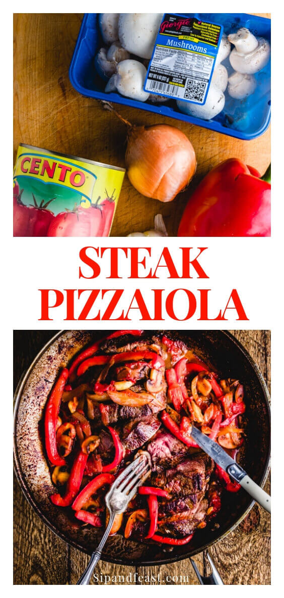 Steak Pizzaiola - Hearty Italian beef dish in a pizza sauce.  Made with plum tomatoes, peppers, onions, mushrooms and garlic this Italian steak dinner will become a family favorite recipe.  #sipandfeast #steak #pizzaiola #steakpizzaiola #italianrecipe #comfortfood #dinnerideas