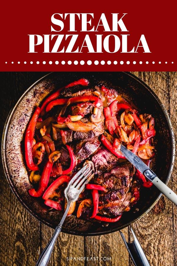 Steak pizzaiola recipe Pinterest image.