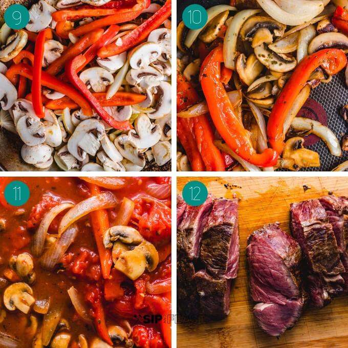 Steak pizzaiola process shot collage group number three.