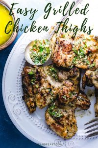 Grilled chicken thighs with Italian dressing Pinterest image.