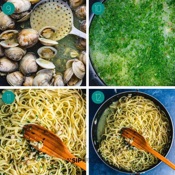 Linguine alle vongole process shot collage group number three.