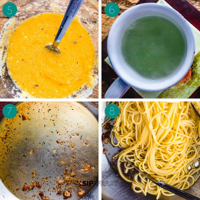Spaghetti carbonara process shot collage group number two.
