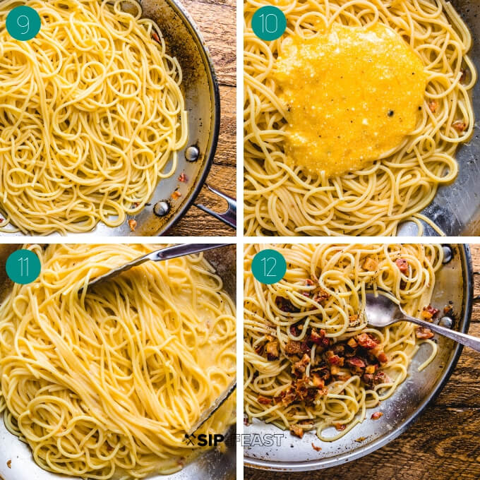 Spaghetti carbonara process shot collage group number three.
