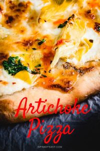 Artichoke and anchovy pizza Pinterest pin.