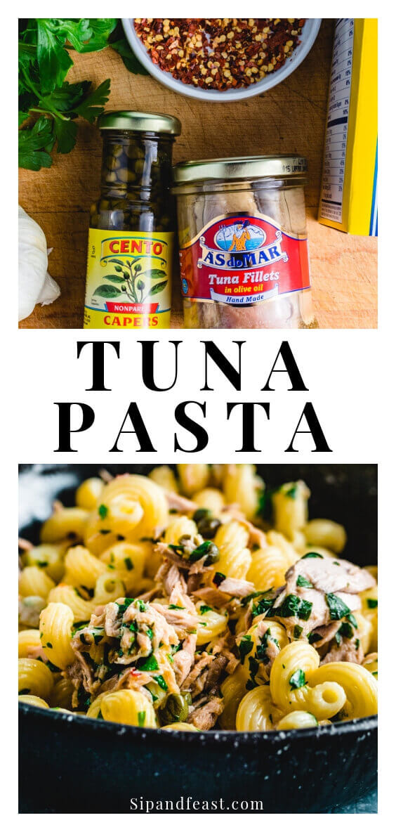 Tuna pasta is an easy Italian recipe with a ton of flavor!  So fresh, light and healthy.  Makes a great weeknight meal that can be on the table in under 30 minutes! #sipandfeast #tuna #tunapasta #italianrecipe #pastarecipe #lightpasta #seafoodrecipe