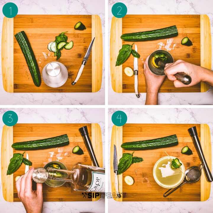 Limonata basil cocktail process shot collage.