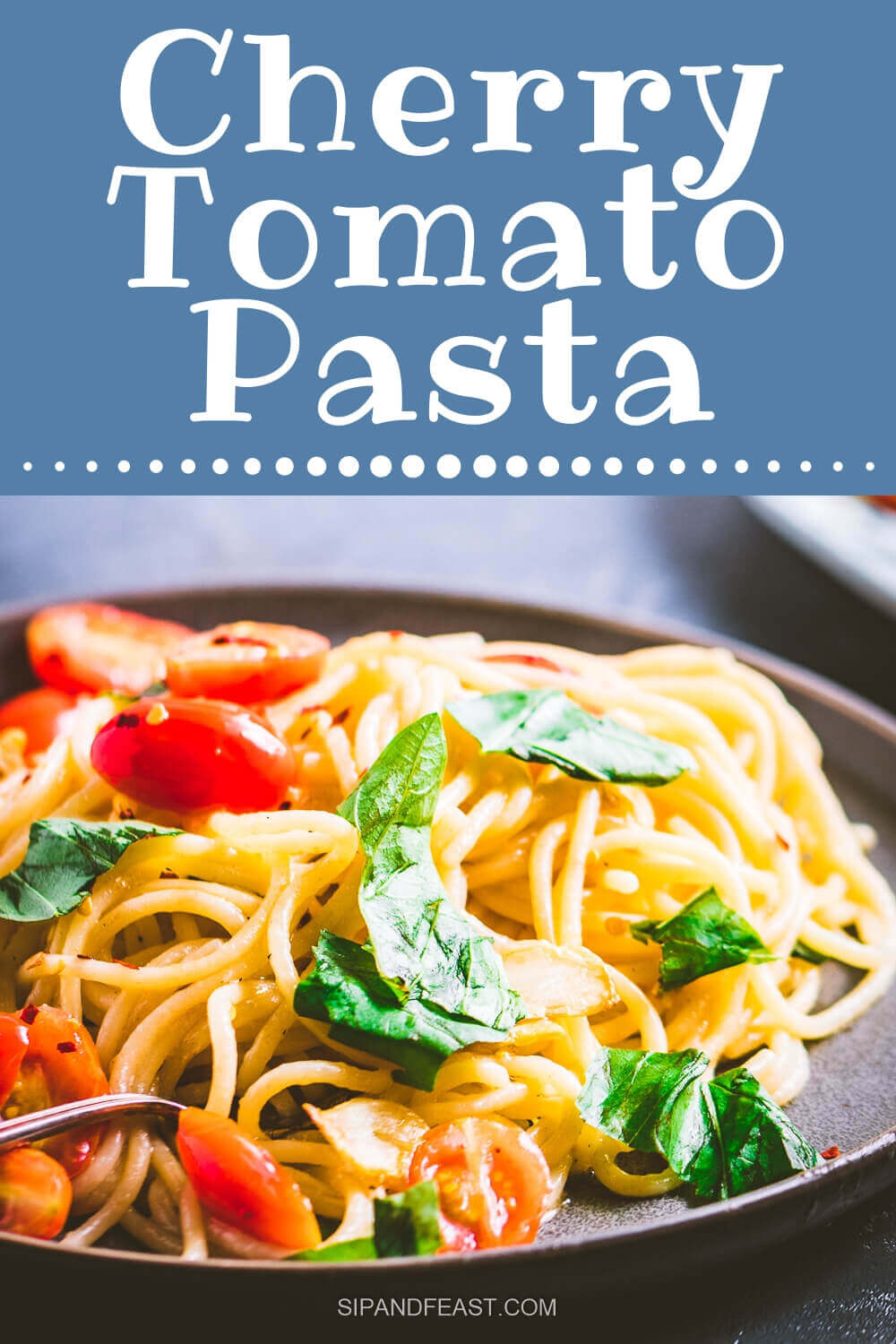 Pasta with cherry tomatoes Pinterest image.