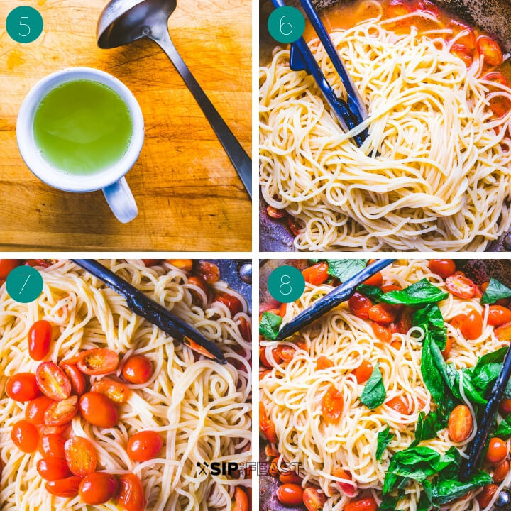 Pasta with cherry tomatoes, basil and garlic process shot collage group number two.