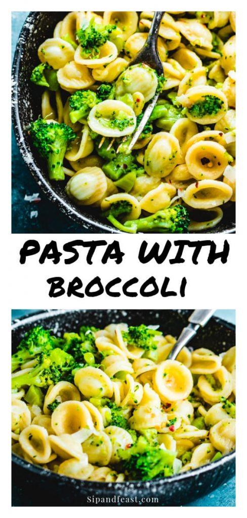 Pasta with broccoli Pinterest image.