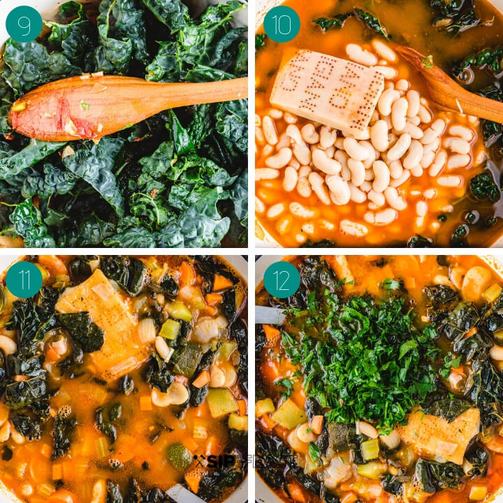 Ribollita soup recipe process shot collage group number three.