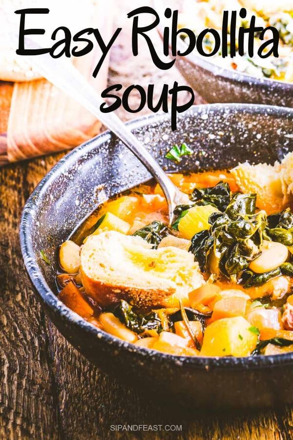 Ribollita Soup Pinterest image.