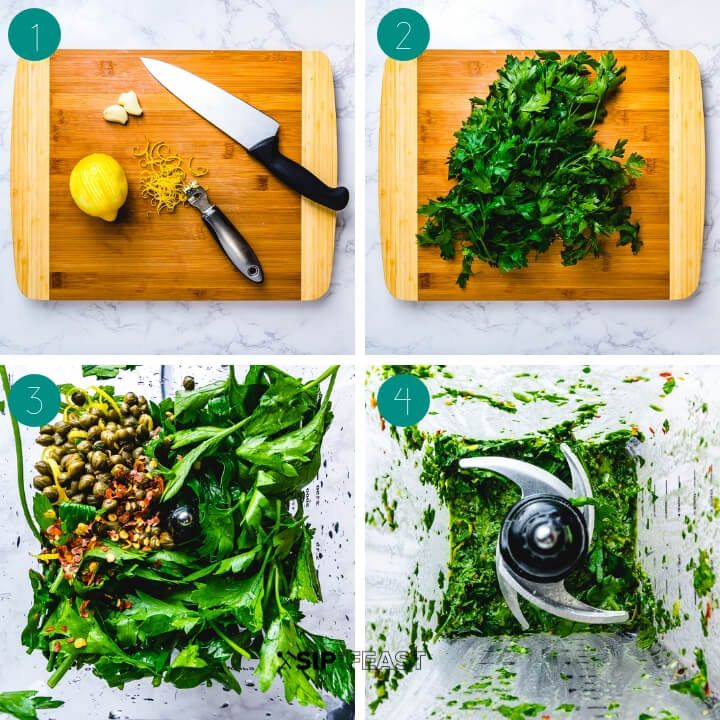 Italian salsa verde process shot collage.