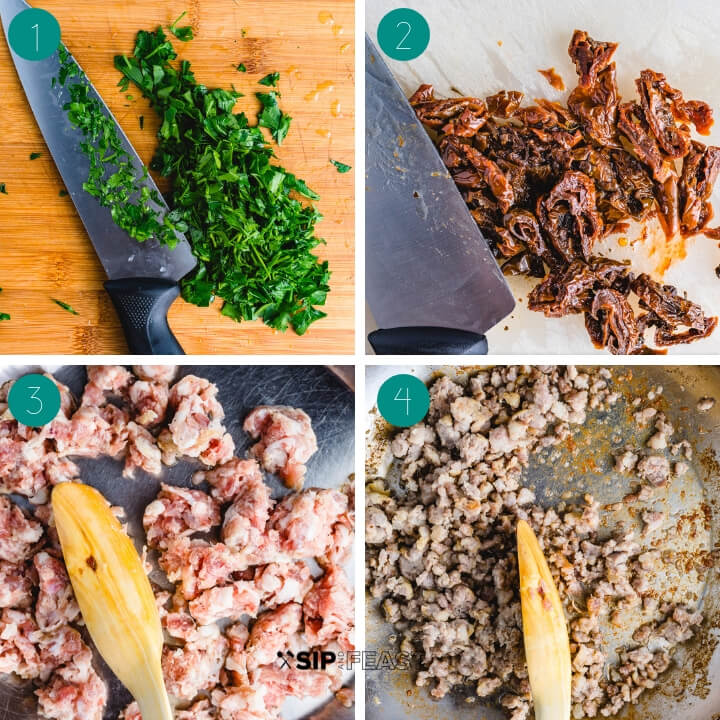 Paccheri pasta recipe process shot collage group number one.