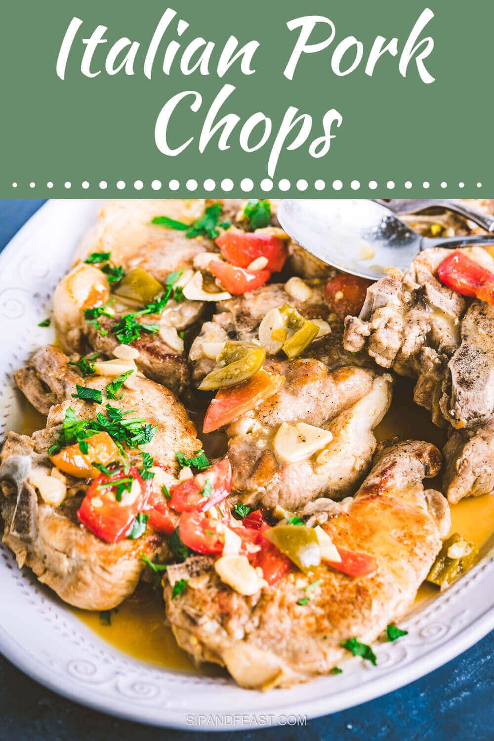Pork chops with vinegar peppers Pinterest image.