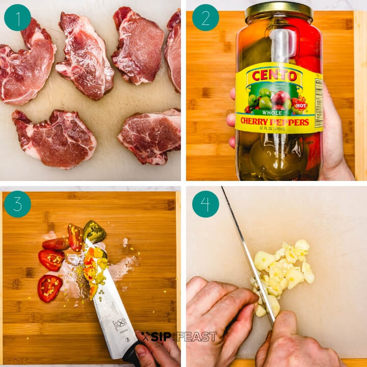 Italian pork chops with vinegar peppers process shot collage group number one.