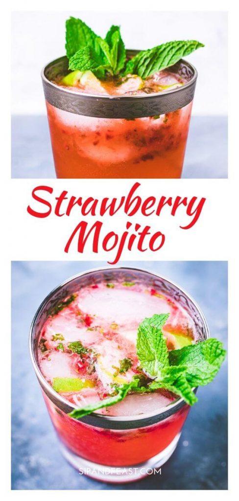 Strawberry mojito Pinterest image.