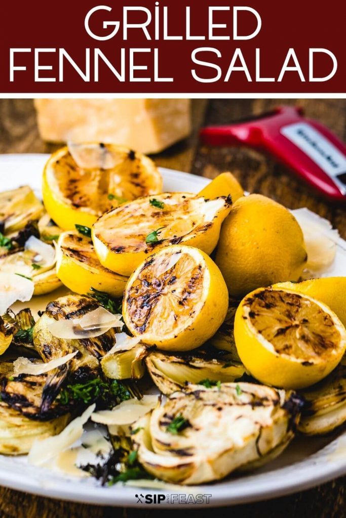 Grilled fennel salad Pinterest image.